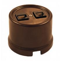 Розетка телефон + компьютер коричневый керамика BIRONI В1-303-02