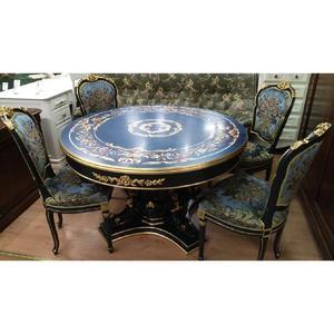 стол + 4 стула Италия (синий с золотом)