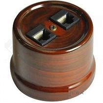 Розетка телефон + компьютер императорский бамбук керамика BIRONI В1-303-IB