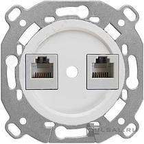 менизм компьютерной розетки + накладка белый BIRONI В3-302-21
