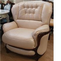 кресло бежевая кожа